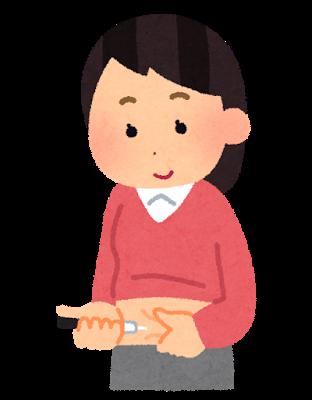 インスリン注射をする女性のイラスト